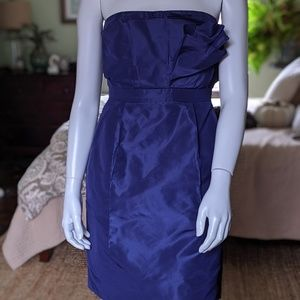 J. Crew Mika $250 100% silk strapless POCKETS